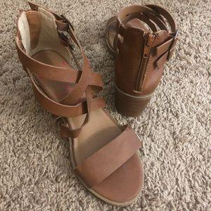 Jellypop Brown Chunky Heel Sandals